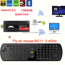 MK809IVPRO S905X Quad Core 1g 8g Android 6.0 4 k tv box fire tv stick met air mouse remote