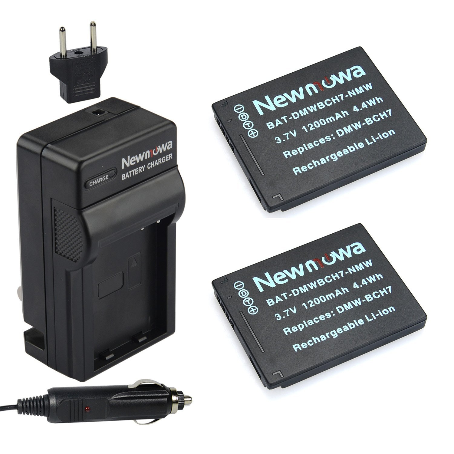 Newmowa DMW-BCH7 Battery (2-Pack) and Charger kit for Panasonic Lumix DMC-FP1 DMC-FP2 DMC-FP3 DMC-FT10 DMC-TS10