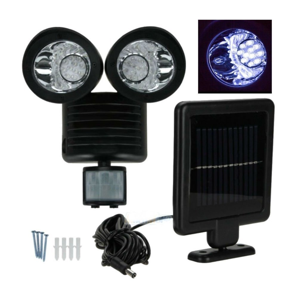 22 LED SOLAR POWERED MOTION SENSOR PIR SECURITY LIGHT GARDEN GARAGE OUTDOOR
