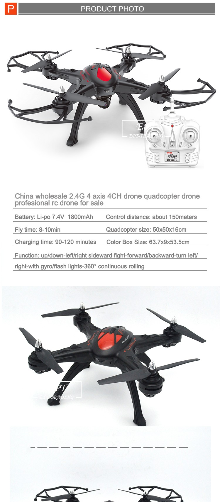 China wholesale 2.4G 4 axis 4CH drone quadcopter drone profesional rc drone for sale