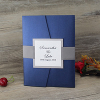 Elegant Handcrafted Name Tag Pocket Fold Navy Blue Wedding Invitation with Dark Gray Ribbon
