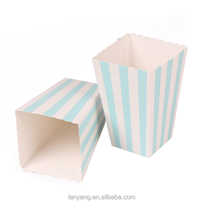 Blue Striped Popcorn Box-Pop Corn Scoop Party Favor Boxes Sky Blue Birthday Party Supplies Wedding Favor Box