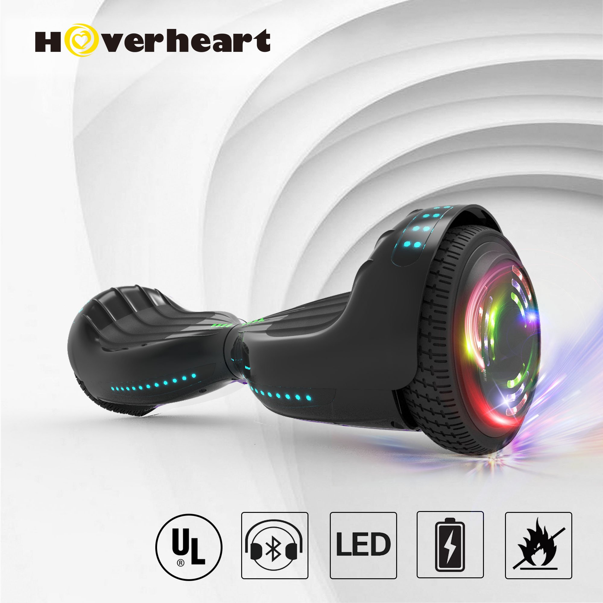 "Hoverboard UL 2272 Certified Flash Wheel 6.5"" Bluetooth Speaker with LED Light Self Balancing Wheel Electric Scooter"