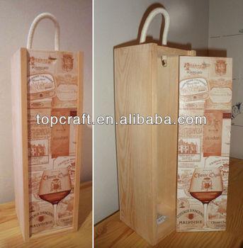 Caja De Madera Del Vino Sola Botella Titular Decorado Ocasiones
