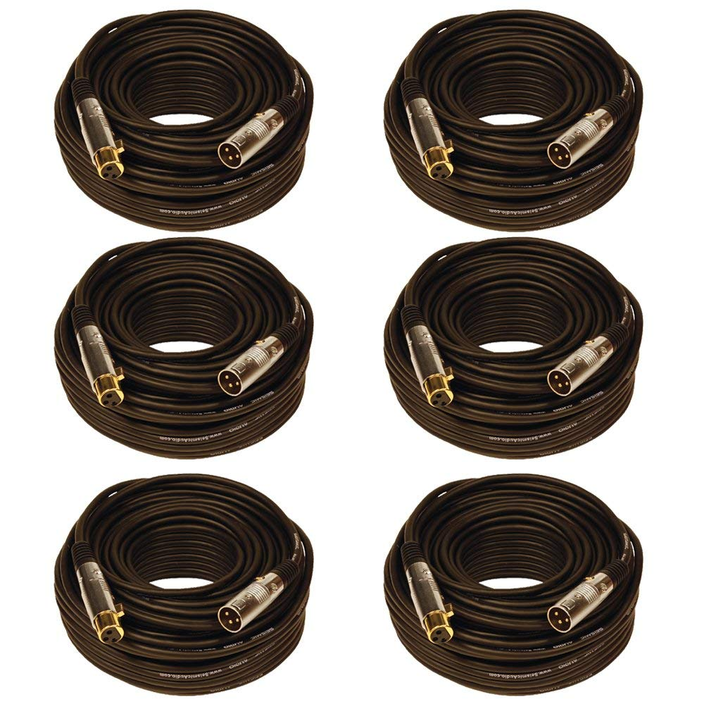 Seismic Audio SAPGX-100Black-6 Pack Premium XLR Microphone Cable, 100', Black
