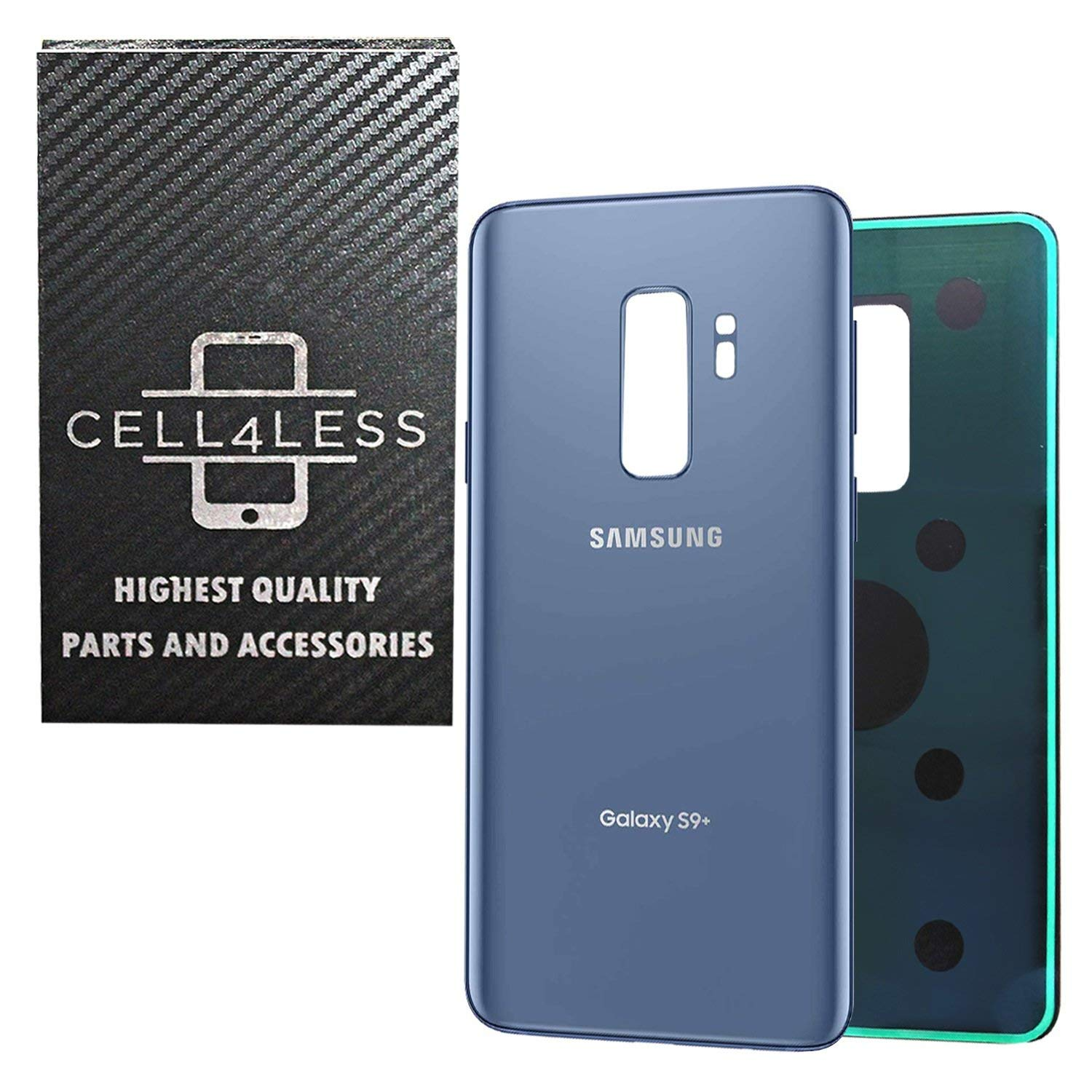 CELL4LESS Compatible Back Glass Cover Back Battery Door w/Pre-Installed Adhesive Replacement for Samsung Galaxy S9 PLUS OEM - All Models G965 All Carriers- 2 Logo - OEM Replacement (BLUE)