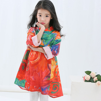 81a5edc8e Chinese style embroidery floral kids Cheongsam Qipao dress for baby girl  Children cotton princess dresses