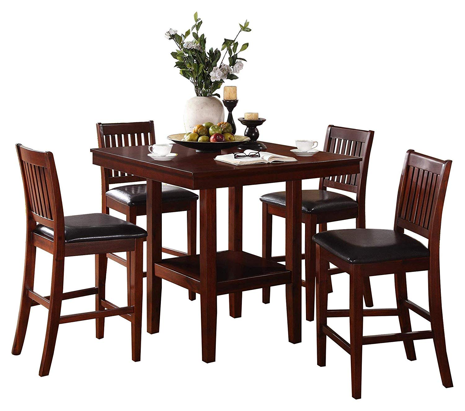 square bar height dining table kitchen get quotations gainer square 5pc counter height dining set table chair in dark brown cheap bar find