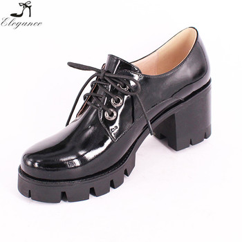 ed48b299c1a England Style Supplier lady Black Patent Leather Lace Up Antiskid Sole High  Square Heel Office Women