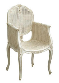 Rattan upholstered french dining chair with arm