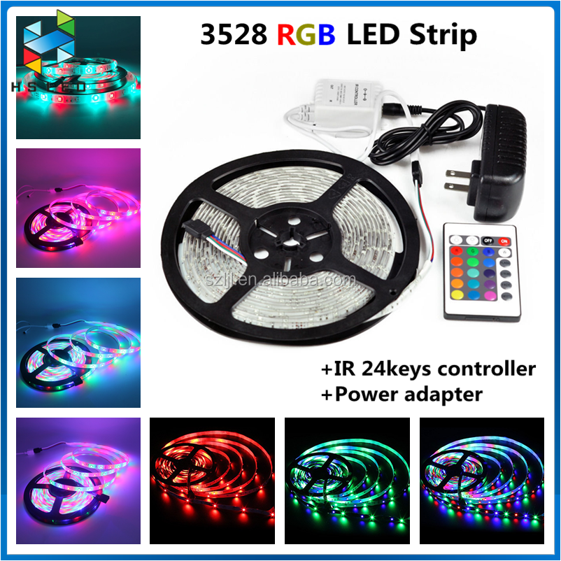 Gift package 12V <strong>RGB</strong> 3528 5M Led Strip+2A power+24 Keys IR Remote