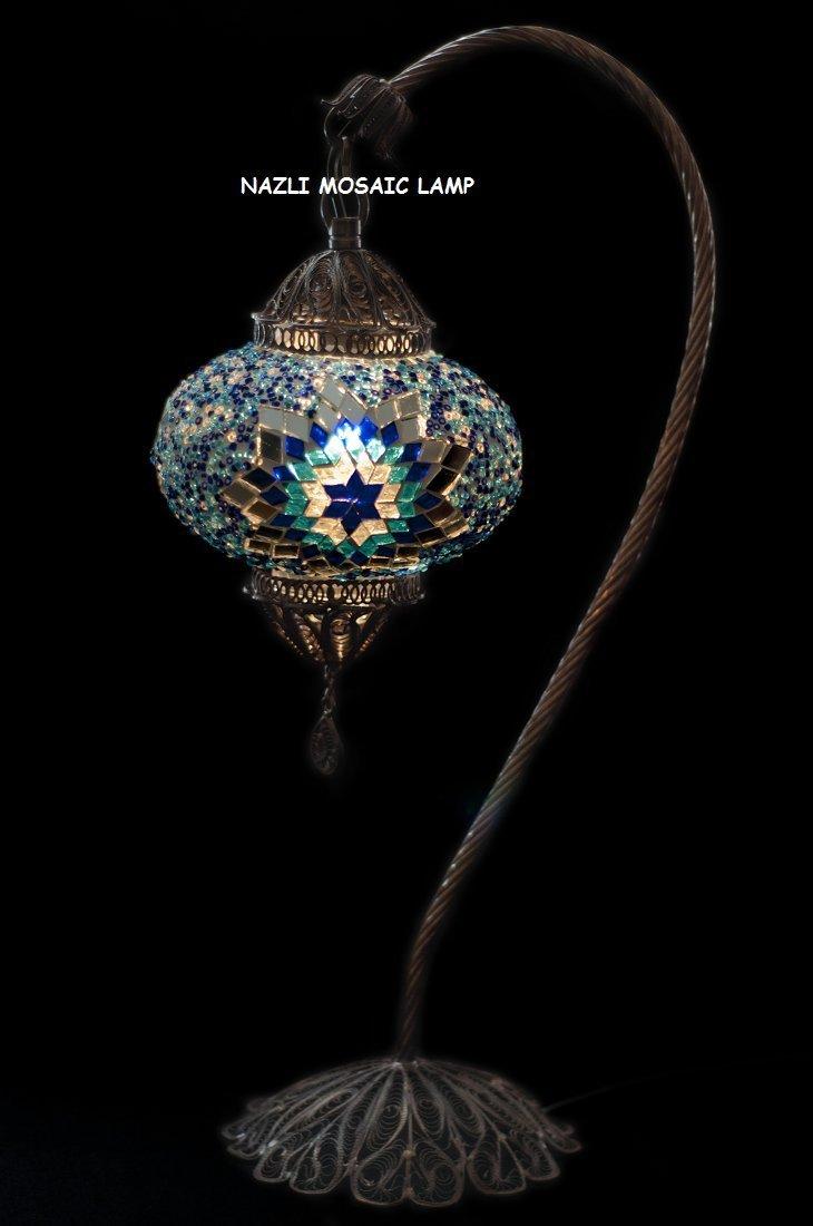 Mosaic Table Lamp,Lamp Shade,Turkish Lamp,Moroccan Lamp,Swan Neck,Filigree copper