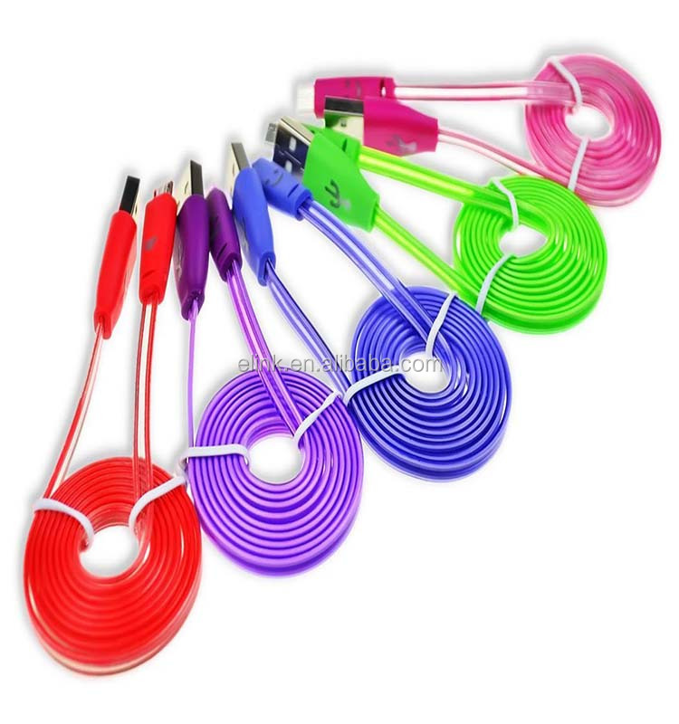 Colorful LED Night Light UP Micro USB Charging Data Cable for Galaxy S7 S6 Edge S4 Note 2 4 5,Mega,HTC One M9,Xperi