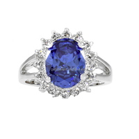 14K White Gold Eternity Blue Diamond Cocktail Tanzanite Gemstone Rings