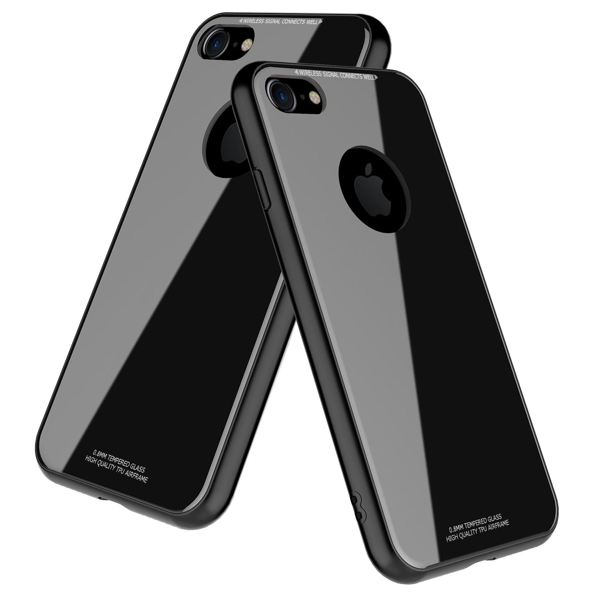 iPhone 8 Case,Despot_ak,Tempered Glass Back Plate and Soft TPU Gel Bumper-Black