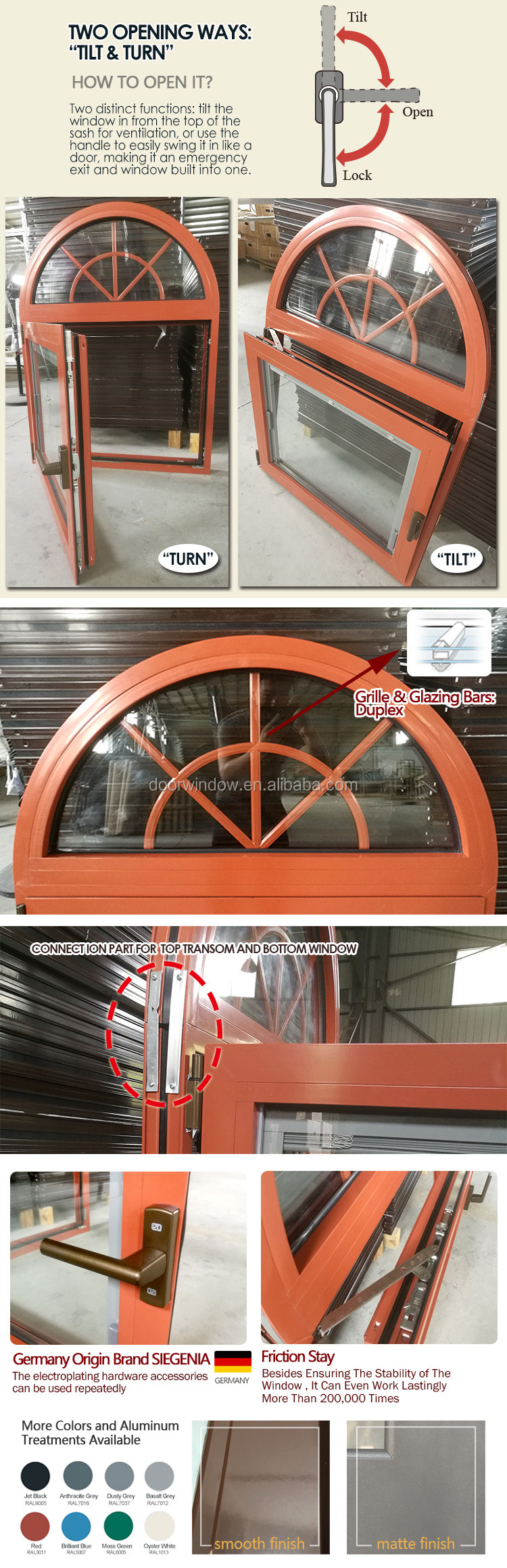 Aluminium awning window with low price triple glazing aluminum awning casement windows