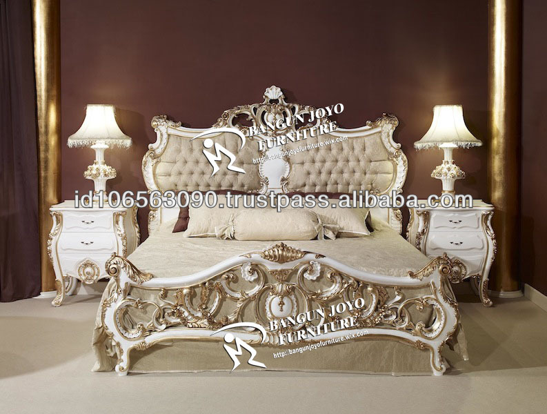 Racoco Antique Headboard Carved With Gold Leaf Italian Design Bed Bj Rf58 Clic Wood Luxury European