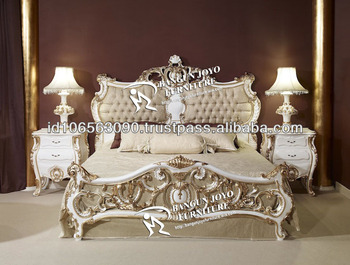Racoco Antique Headboard Carved With Gold Leaf Italian Design Bed Bj Rf58