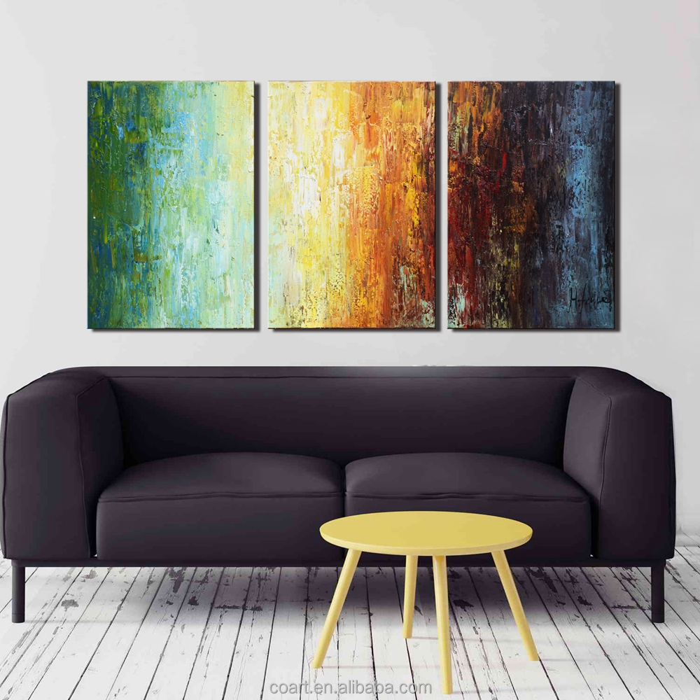 3 Paneled Abstract Wall Decoration Oil Art Painting on Canvas