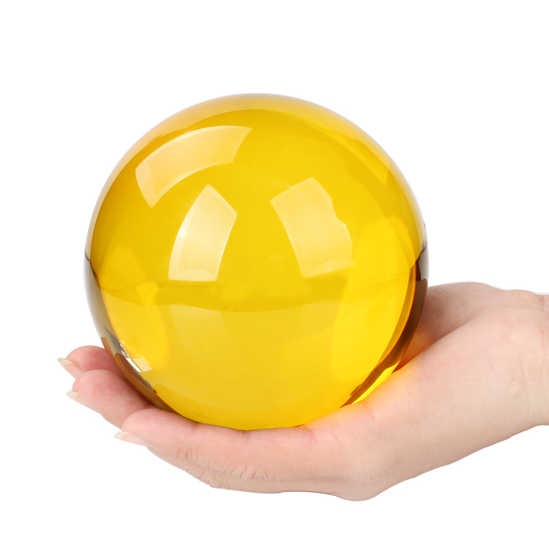 Wholesale Beautiful 80mm 100mm 150mm 200MM Solid seven color yellow K9 Crystal Glass Ball for decoration DILU CRYSTAL BALL