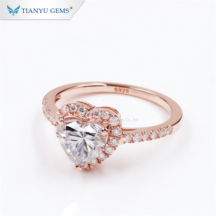Tianyu heart shape designs luxury 925 sterling <strong>silver</strong> rose gold plated moissanite engagement ring for girls
