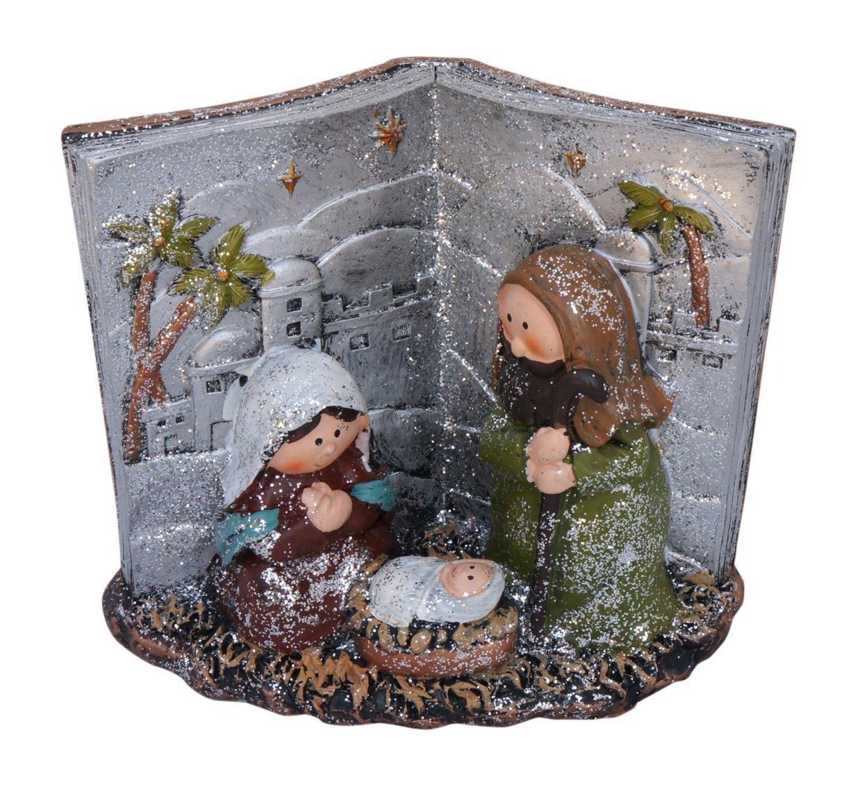 Glittered Metallic Holy Family Christmas Nativity Desktop Scenes (Bible)