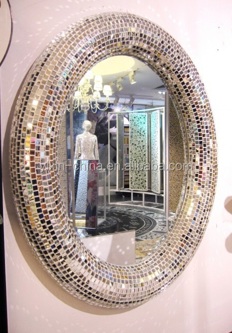 2015 Round Or Oval Silver Decorative Wall Framed Glass Mosaic Mirror/Bedroom  Or Bathroom Mirror
