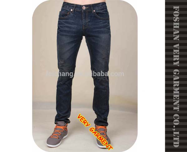 Embroidery pocket and 100% cotton ripped jeans trousers for men