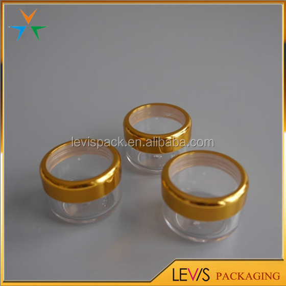 6ml empty lip balm clear cosmetic jar with gold foil