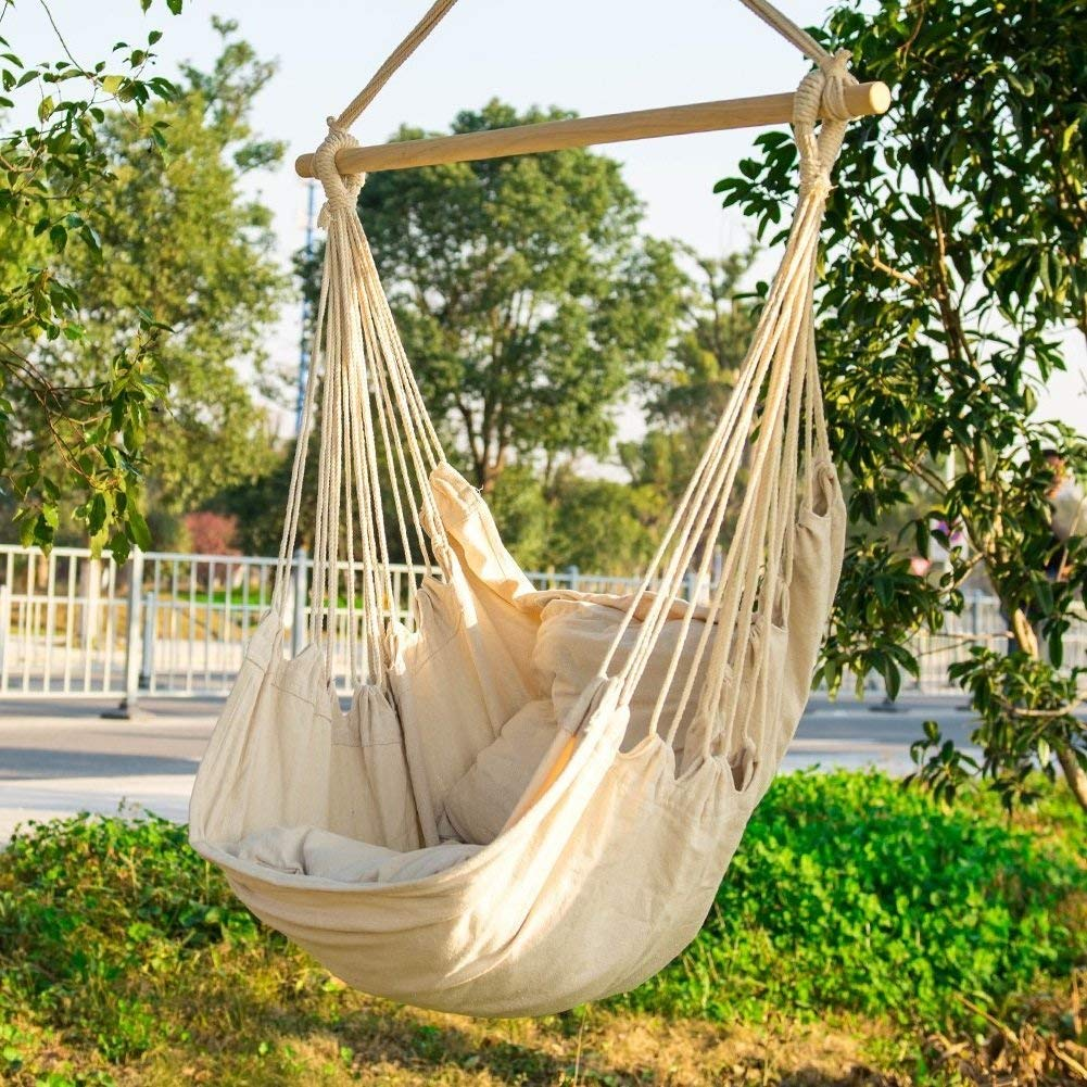 Room Hammock For Bedrooms Hanging Rope Chair Outdoor Swing Front Porch Patio Yard Indoor 2 Seat Cushions Included