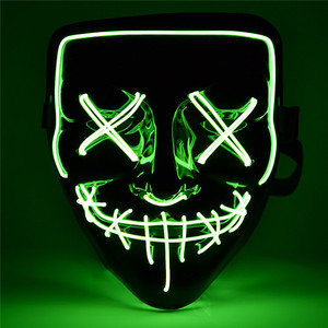 2019 Light Up Glowing Neon Mask Factory Price EL Wire Neon Mask for Halloween Event