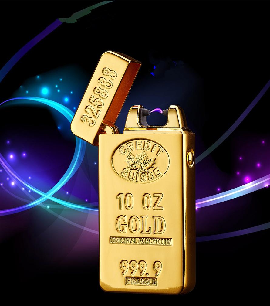 КРУТО!! классические Золотые Слитки электрического Импульса Дуги зажигалка USB зарядка прикуривателя Мужчин USB Зажигалка деловые Подарки Lighters-JL688
