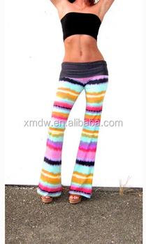 44ec6210f46d54 Tropical Rainbow Stripe Wide Leg Palazzo Bell Bottom Yoga Pants ...