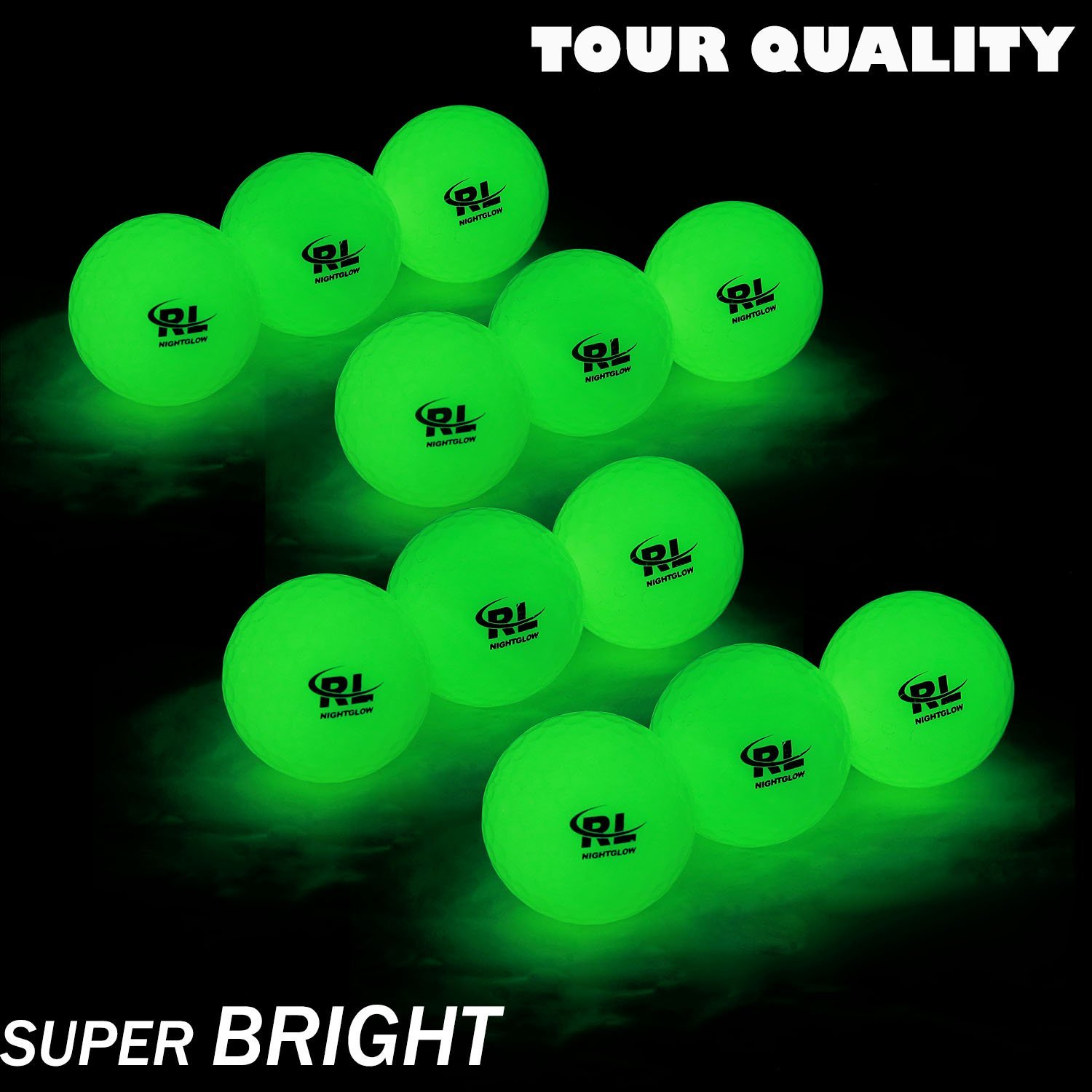 R&L Night Golf Balls Glow in the Dark - Best Hitting Tournament Fluorescent Golf Ball- Long Lasting Bright Luminous Balls Rechargeable with Any Flashlight - NO LED Inside