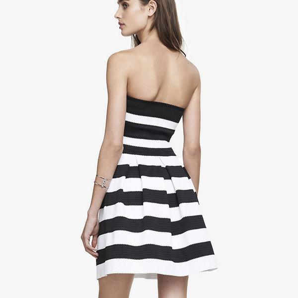 98b605023f4d0a Enkellange meisjes jurken nieuwe zwart-wit strepen jurk portugal vrouwen  kleding