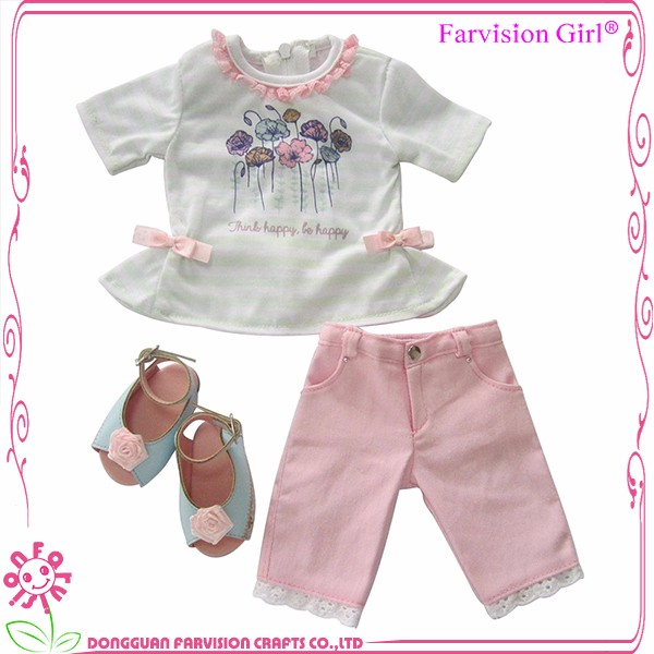 White doll t shit and Pink Pants Matching Baby DIY Doll cloth