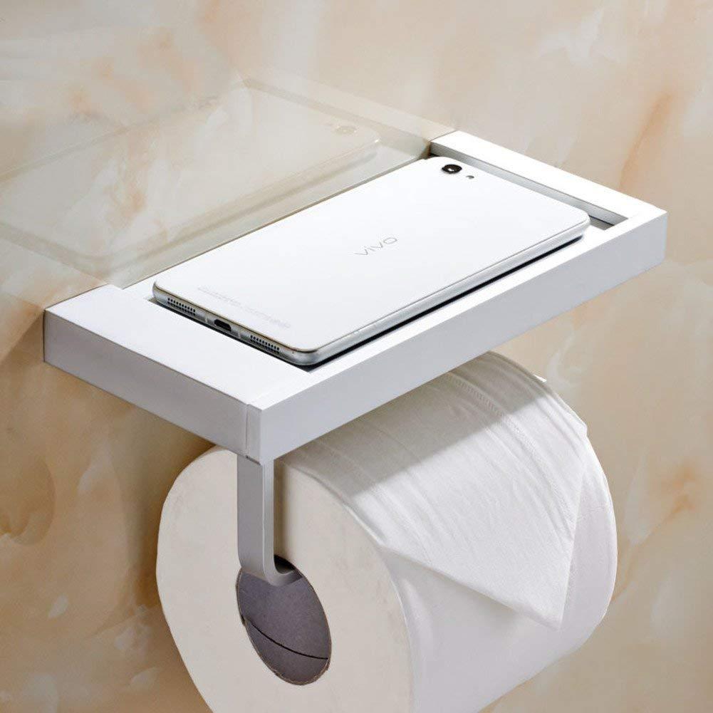 White Toilet paper holder,Toilet Tissues holder Toilet paper shelf Space aluminium Toilet paper holder Toilet roll holder-A