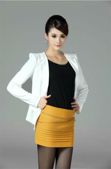 Office Lady Pencil Skirt Formal Mini Straight Dress Yellow Peplum ...