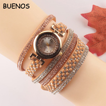 Vintage Retro Design Colorful Leather Wrap Bracelet Quartz Watch for Lady