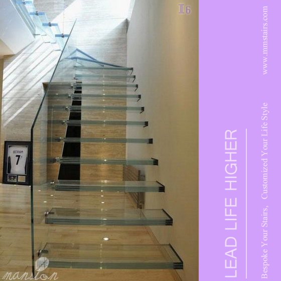 Floating Glass Stairs With Steel Stringer Inside Wall