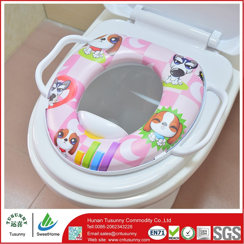 Reusable Drawing Dogs Toilet Seat For Baby With Two Handrails ...