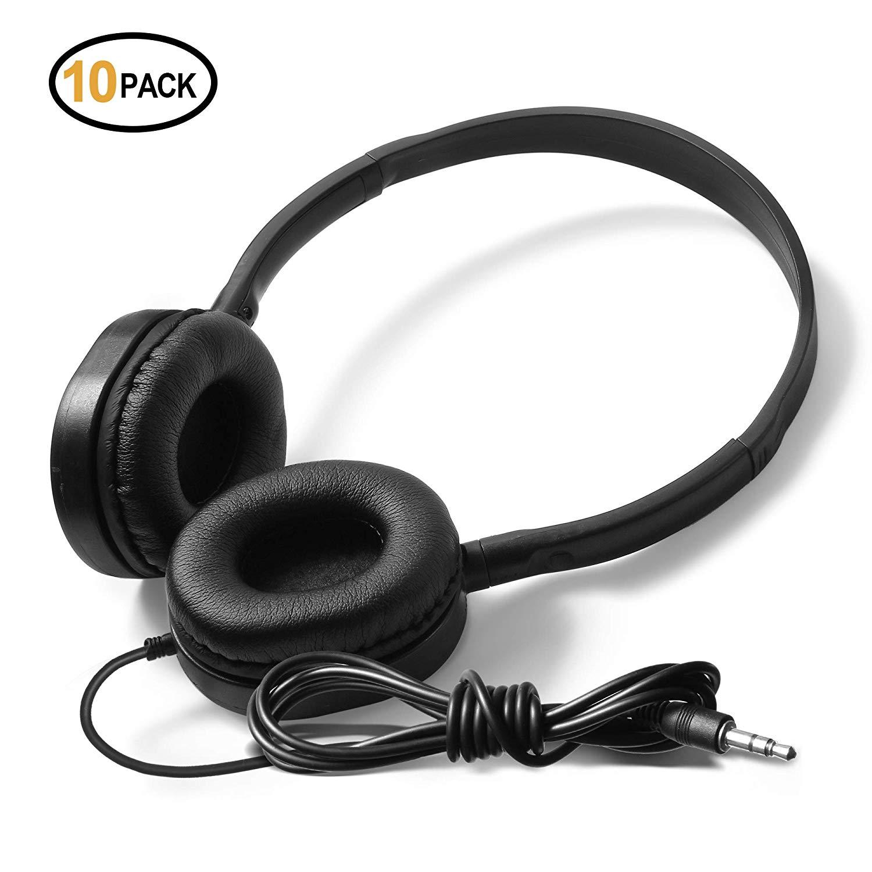 Bulk Low Cost Stereo Headphones - Kaysent(KHP-L10) 10 Pack Headphones in Bulk School,Airplane,Hospital,Kids Adults