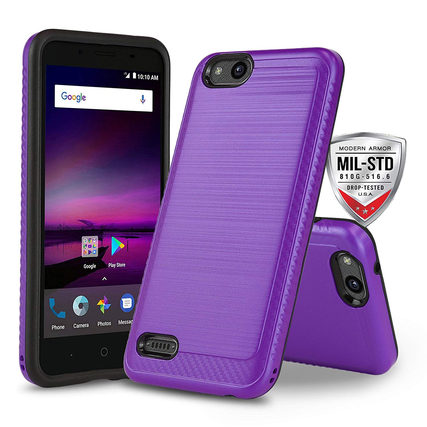 [ZTE ZFive G LTE][ZTE ZFive C LTE] Case, CaselandUSA [Modern Series][Purple] Shockproof [Defender] Hybrid Dual Layer [Impact Resistant] Phone Cover for ZTE ZFive G LTE, ZFive C LTE