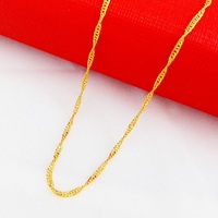 New Arrival Single Wave Chain Necklace 24k Gold Twisted Singapore Chain Women Necklace