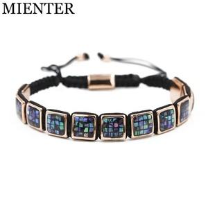 33d76e8ae91a Fashion Luxury Adjustable Friendship Shell Flat Square bead Macrame Braided  Bracelet Men