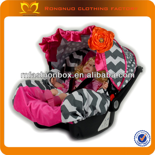 Grey Chevron Tie Dye Baby Car Seat Covers With Orange Flower Girly Cover For Strollers