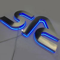 Laser cutting 304 stainless steel backlit led reverse channel letters behind light up signs