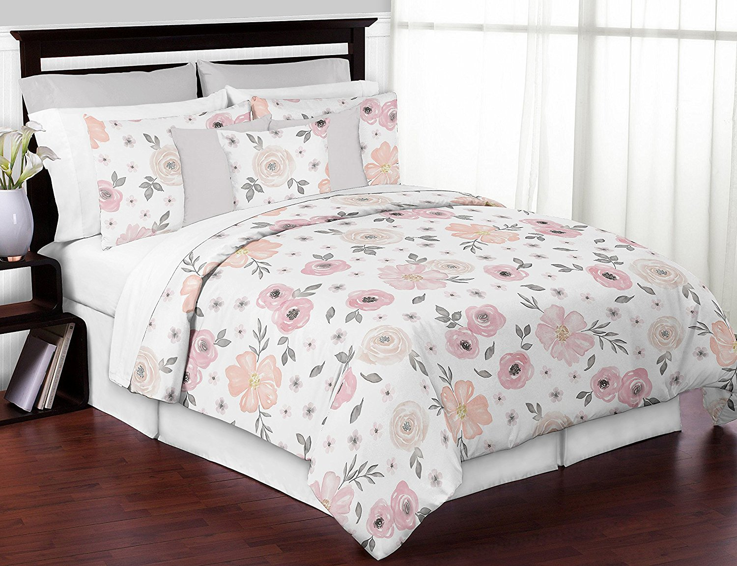Sweet Jojo Designs 3-Piece Blush Pink, Grey and White Shabby Chic Watercolor Floral Girl Full / Queen Kid Childrens Bedding Comforter Set s - Rose Flower