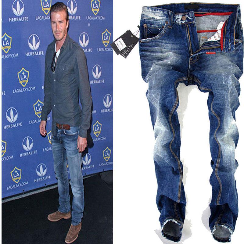 Dsq бренд мужчины в джинсы, 100% хлопок, Синий винтажный джинсы брюки, B5002