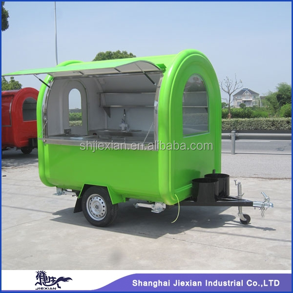 JX-FR220B Professional Fiberglass Outdoor mobile Customized fast food trailer